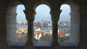 Vista superiore del centro di Budapest stock footage