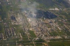 Vista superiore del centro industriale della città fotografie stock libere da diritti