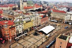 Vista superiore del centro urbano di Zagabria Fotografia Stock