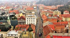 Vista superiore del centro urbano di Zagabria Fotografia Stock Libera da Diritti