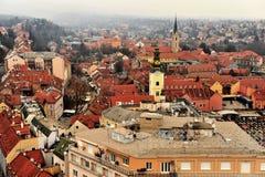 Vista superiore del centro urbano di Zagabria, Croazia Immagine Stock Libera da Diritti