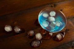 Vista superiore del cocktail blu della laguna Immagine Stock Libera da Diritti