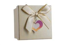 Vista superiore del contenitore di regalo isolato con il nastro bianco sul backgro bianco Fotografie Stock