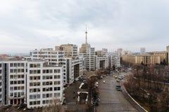 Vista superiore del Derzhprom - alloggi l'industria dello stato, un monumento di Fotografie Stock Libere da Diritti