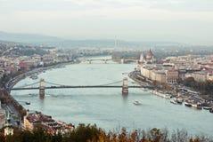 Vista superiore del fiume Danubio a Budapest Fotografia Stock Libera da Diritti