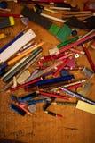 Vista superiore del fondo assortito degli oggetti fotografia stock libera da diritti
