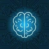 Vista superiore del fondo della scheda madre del circuito di Brain Shape Icon Over Blue illustrazione vettoriale