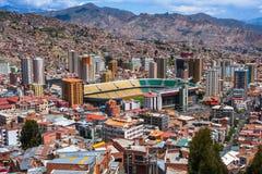 Vista superiore del La Paz, Bolivia Architettura Fotografia Stock