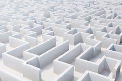 Vista superiore del labirinto bianco rappresentazione 3d Fotografia Stock Libera da Diritti