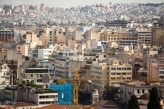 Vista superiore del labirinto delle vie di capitale greca Atene Fotografie Stock Libere da Diritti