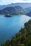 Vista superiore del lago sanguinato in Slovenia Fotografie Stock Libere da Diritti