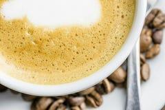 Vista superiore del latte del caffè Fotografia Stock