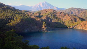 Vista superiore del litorale della baia Cirali con gli alberi verdi, Turchia video d archivio