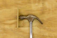 Vista superiore del martello e dei chiodi Fotografie Stock Libere da Diritti