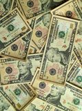 Vista superiore del mucchio degli Stati Uniti dieci fatture del dollaro $10 Fotografia Stock