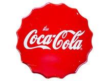Vista superiore del panchetto di legno rosso con la marca di Coca-Cola Immagini Stock