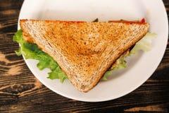 Vista superiore del panino del triangolo sul piatto Immagini Stock Libere da Diritti