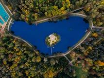 Vista superiore del parco molti alberi differenti Minsk, Repubblica Bielorussia fotografia stock libera da diritti