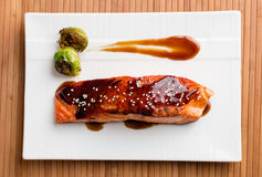 Vista superiore del piatto di color salmone delizioso di teriyaki immagini stock libere da diritti