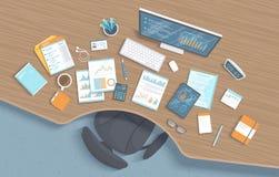 Vista superiore del posto di lavoro di legno dell'ufficio con la tavola, sedia, articoli per ufficio di affari, documenti, taccui royalty illustrazione gratis