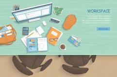 Vista superiore del posto di lavoro moderno ed alla moda Tabella, poltrone, monitor, taccuino, carta, caffè illustrazione vettoriale