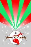 Vista superiore del pupazzo di neve, fiocchi di neve su fondo grigio; le bande verdi e rosse sono copia-spazio per aggiungono il  Fotografia Stock