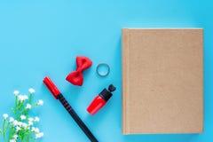 Vista superiore del taccuino del diario con una penna, un rossetto rosso e gli oggetti decorati su fondo blu immagini stock