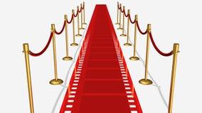 Vista superiore del tappeto rosso della pellicola Immagine Stock