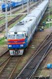 Vista superiore del treno diesel commovente, Homiel', Bielorussia Fotografia Stock Libera da Diritti