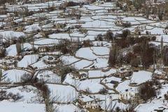 Vista superiore del villaggio di Leh nell'inverno Immagine Stock