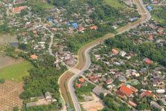 Vista superiore dell'aereo, paesaggio urbano di Chiang Mai Immagini Stock