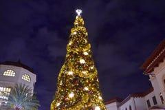 Vista superiore dell'albero di Natale illuminato e decorato alla notte sul fondo aperto del centro commerciale in primavera di Di immagine stock libera da diritti