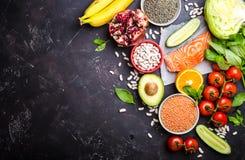 Vista superiore dell'alimento di dieta sana immagini stock