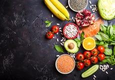 Vista superiore dell'alimento di dieta sana immagini stock libere da diritti