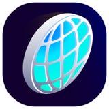 Vista superiore dell'icona isometrica del globo 3d di vettore della terra giusta illustrazione di stock