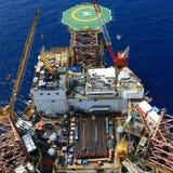 Vista superiore dell'impianto di perforazione di perforazione in mare aperto Fotografia Stock Libera da Diritti