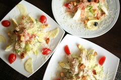 Vista superiore dell'insalata Piatti sulla tavola Concetto di fotografia dell'alimento Dieta sana Fotografia Stock Libera da Diritti