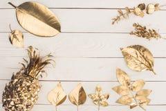 vista superiore dell'insieme di vari foglie ed ananas dorati Immagine Stock