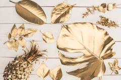 vista superiore dell'insieme di vari foglie ed ananas dorati Immagini Stock Libere da Diritti