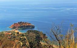 Vista superiore dell'isola di Sveti Stefan Immagine Stock Libera da Diritti