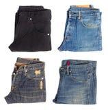 Vista superiore dell'jeans piegati Fotografie Stock Libere da Diritti