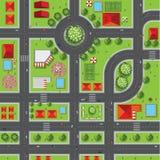 Vista superiore della città delle vie, strade, case, cima d'albero, vettore Fotografia Stock Libera da Diritti