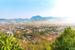 Vista superiore della città di Luang Prabang, Laos Immagini Stock Libere da Diritti