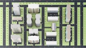 Vista superiore della città rappresentazione 3d Immagine Stock