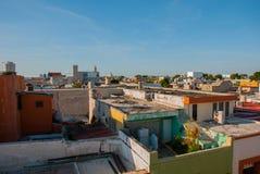 Vista superiore della città variopinta San Francisco de Campeche Bella architettura coloniale nel centro storico di Campeche, Mex Immagini Stock Libere da Diritti