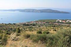 Vista superiore della costa croata e delle isole vicine fotografia stock