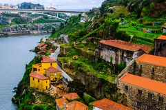 Vista superiore della costa di Vila Nova de Gaia immagine stock libera da diritti
