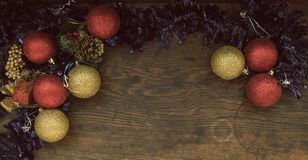Vista superiore della disposizione dell'annata di Natale Fotografia Stock Libera da Diritti