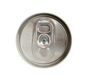 Vista superiore della latta di bevanda con tirata d'argento dell'anello isolata su bianco Fotografie Stock