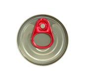 Vista superiore della latta di bevanda con tirata rossa dell'anello isolata su bianco Immagini Stock Libere da Diritti